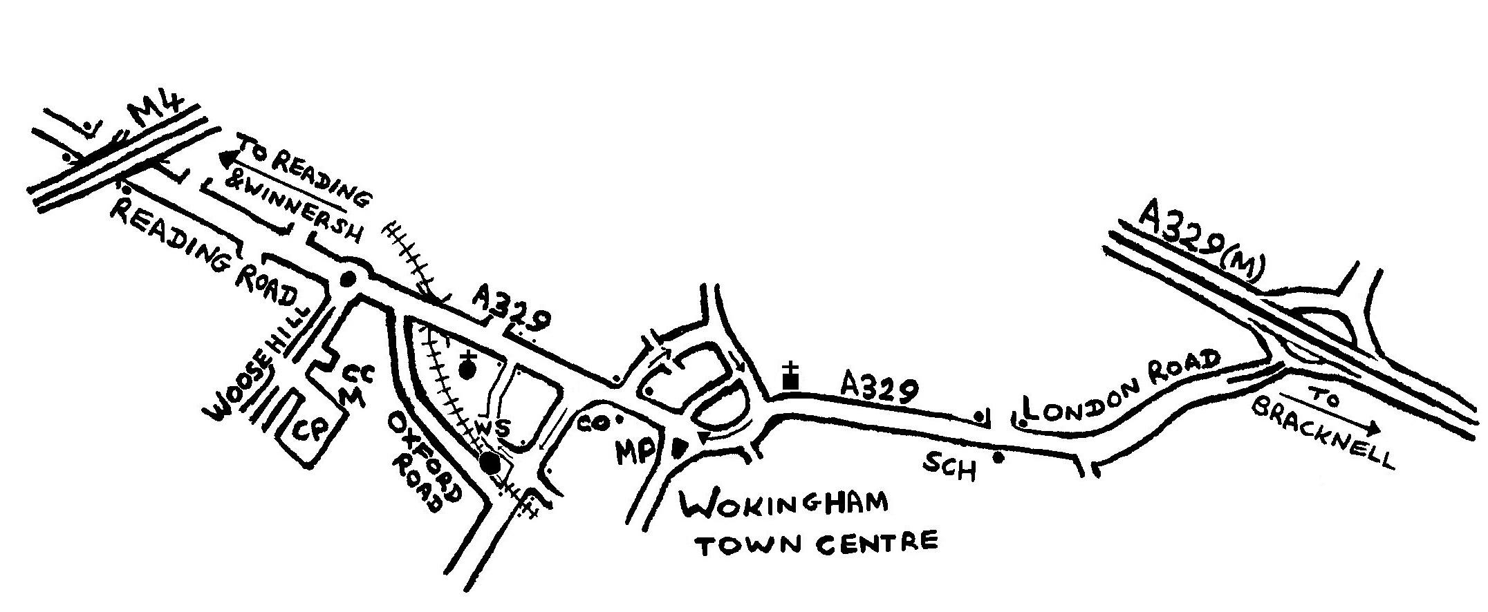 Map of Wokingham