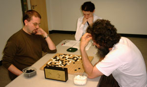 A photograph of game one of the title match